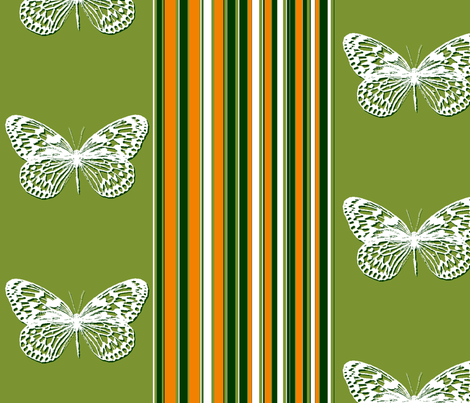 Orange Striped Butterflies fabric by wiccked on Spoonflower - custom fabric