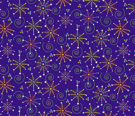 fireworks and fireflies fabric by littlerhodydesign on Spoonflower - custom fabric