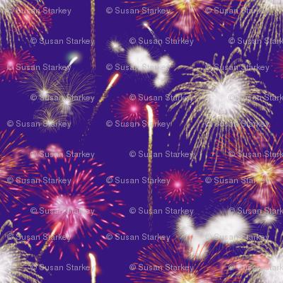 Fireworks Series I - 04Bl - Red and White Fireworks on Blue-Violet