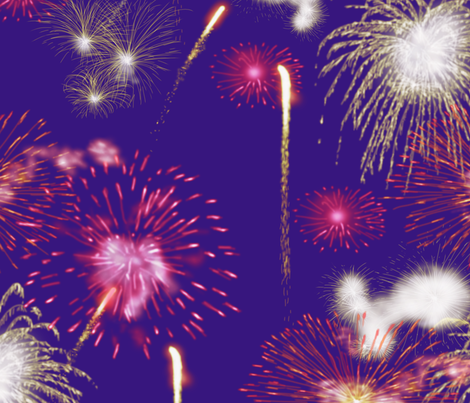 Fireworks Series I - 04Bl - Red and White Fireworks on Blue-Violet fabric by creative8888 on Spoonflower - custom fabric