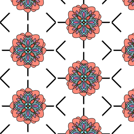 Kaleidoscope Flower (White) fabric by david_kent_collections on Spoonflower - custom fabric