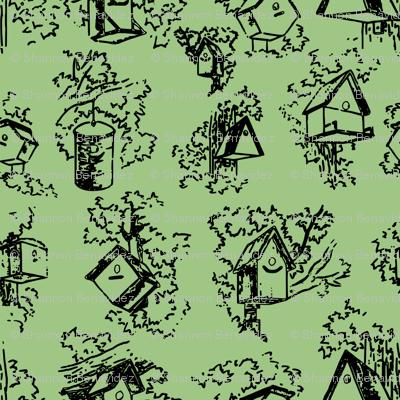 Birdhouse Toile- Green