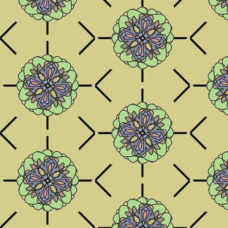Kaleidoscope Flower (Moss) fabric by david_kent_collections on Spoonflower - custom fabric