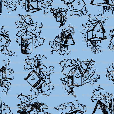 Birdhouse Toile- Blue