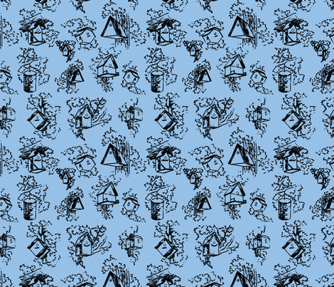 Birdhouse Toile- Blue fabric by mayabella on Spoonflower - custom fabric