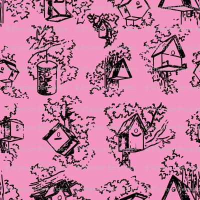 Birdhouse Toile- Pink