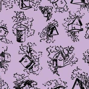 Birdhouse Toile- Lavender