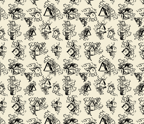Birdhouse Toile- Cream  fabric by mayabella on Spoonflower - custom fabric