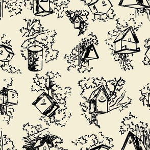 Birdhouse Toile- Cream