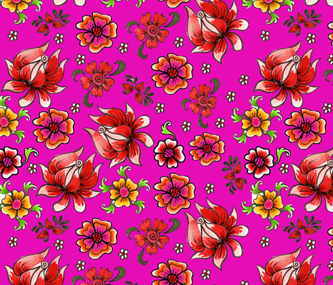 fleur_de_bohème__pink fabric by nadja_petremand on Spoonflower - custom fabric