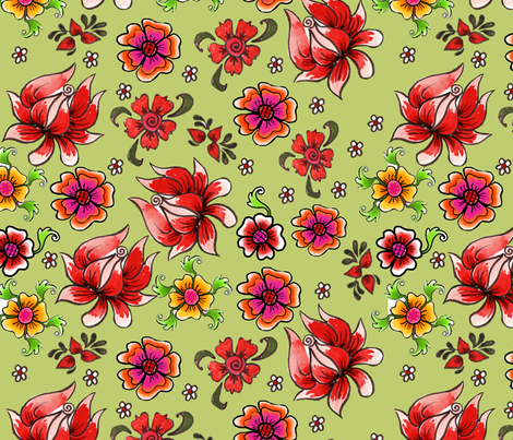 fleur_de_bohème__green fabric by nadja_petremand on Spoonflower - custom fabric