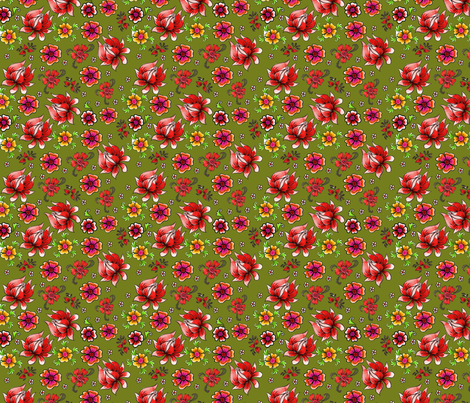 fleur_de_bohème__green_S fabric by nadja_petremand on Spoonflower - custom fabric