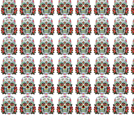 skull_white fabric by carmen_attcha on Spoonflower - custom fabric