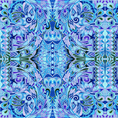 Deco the Halls (blue) fabric by edsel2084 on Spoonflower - custom fabric