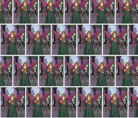 red-green book faerie elf in the woods fabric by vinkeli on Spoonflower - custom fabric