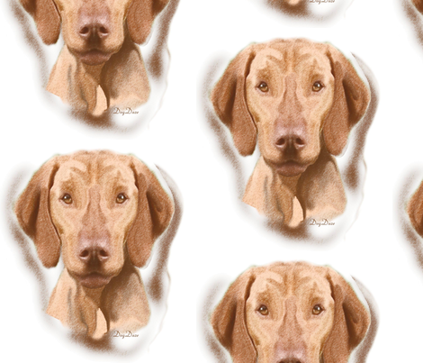 Viszla Portrait fabric by dogdaze_ on Spoonflower - custom fabric