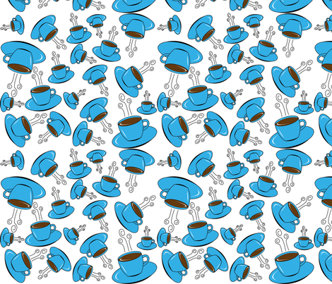 Blue_Coffee2 fabric by redtulip21709 on Spoonflower - custom fabric