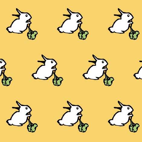White Rabbits on Gold fabric by pond_ripple on Spoonflower - custom fabric