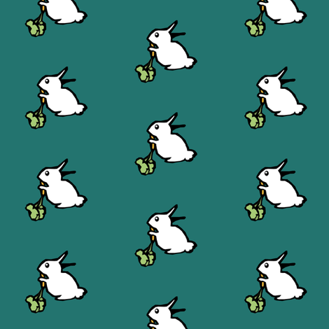 White Rabbit on Teal fabric by pond_ripple on Spoonflower - custom fabric