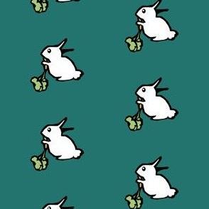 White Rabbit on Teal