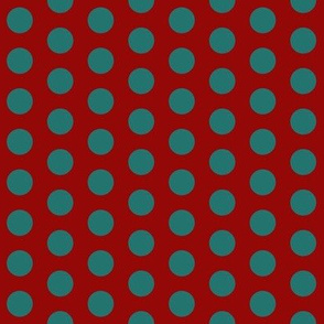 Polka Dot: Red and Teal