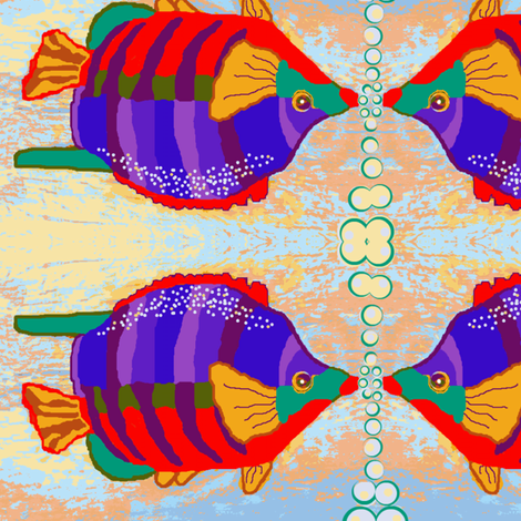 Brilliant Fish Blowing Bubbles 2 fabric by robin_rice on Spoonflower - custom fabric
