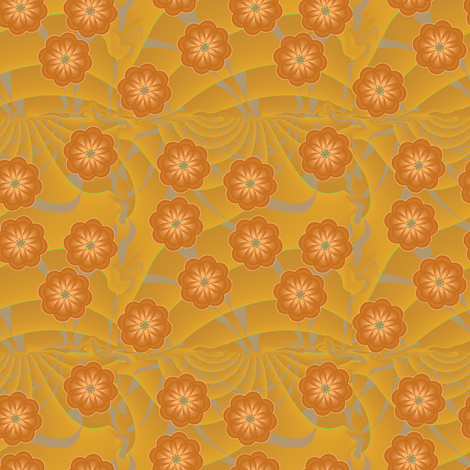 Gold flowers bloom in Desert Dunes fabric by eclectic_house on Spoonflower - custom fabric