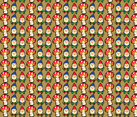 gnome mushroom mash fabric by heidikenney on Spoonflower - custom fabric