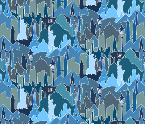 METROMASH (cityscapes of the world) blue fabric by scrummy on Spoonflower - custom fabric