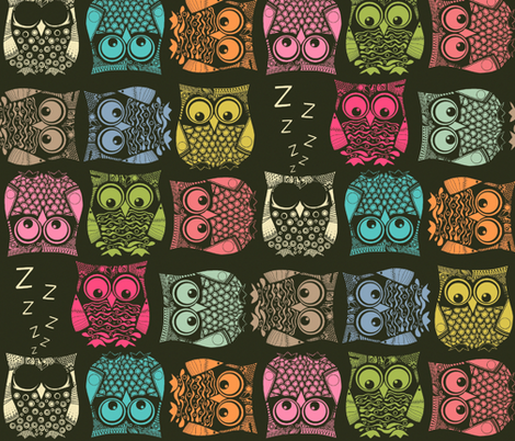 sherbet owls fabric by scrummy on Spoonflower - custom fabric