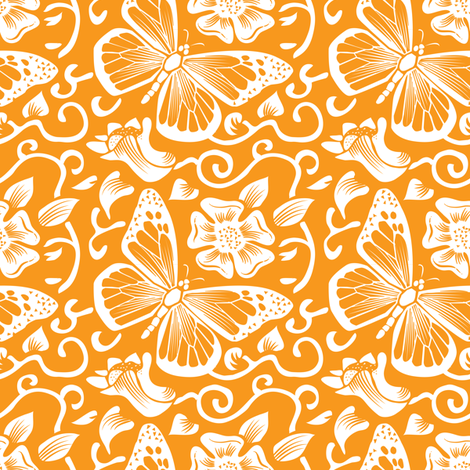 Fluttering Creamsicle fabric by dianne_annelli on Spoonflower - custom fabric