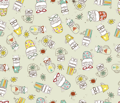 Berd Nerds- Owl have a  Latté fabric by cynthiafrenette on Spoonflower - custom fabric