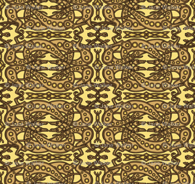 Yellow Brown Celtic Knot Greyhounds ©2011 by Jane Walker