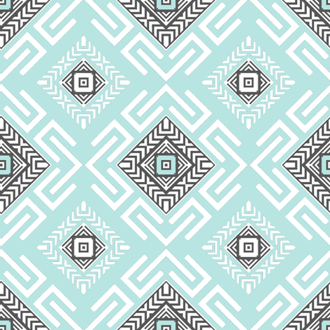 Fretwork in Aqua fabric by joanmclemore on Spoonflower - custom fabric