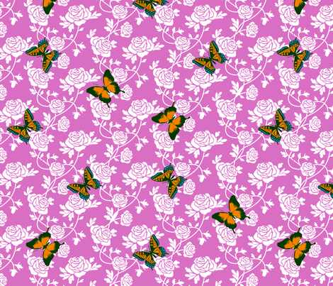 Butterfly Roses fabric by kdl on Spoonflower - custom fabric