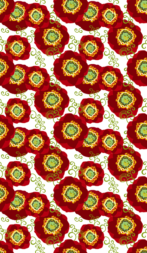 Poppies 1 yard scarf fabric by joanmclemore on Spoonflower - custom fabric