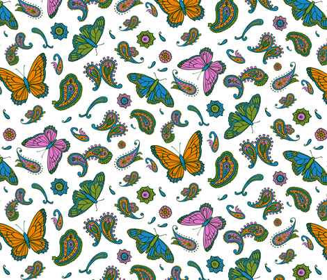 butterfly paisley fabric by katherinecodega on Spoonflower - custom fabric