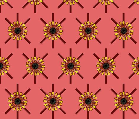 Sunflower (Coral) fabric by david_kent_collections on Spoonflower - custom fabric