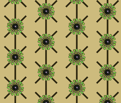 Green Turquoise Flower fabric by david_kent_collections on Spoonflower - custom fabric