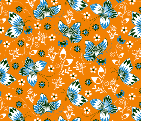Butterfly garden orange fabric by cjldesigns on Spoonflower - custom fabric