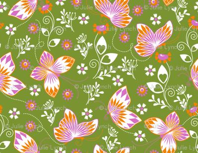 Butterfly garden green 2