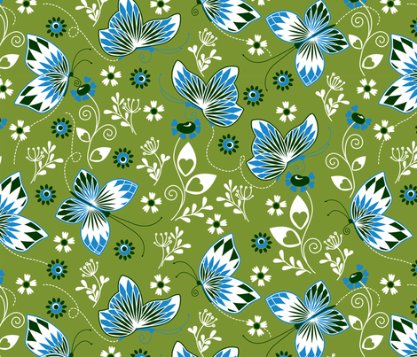 Butterfly garden green fabric by cjldesigns on Spoonflower - custom fabric