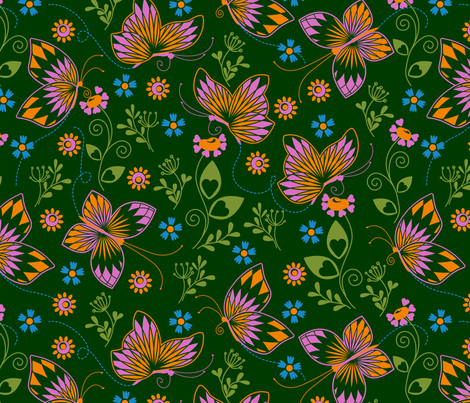 Butterfly garden dark fabric by cjldesigns on Spoonflower - custom fabric