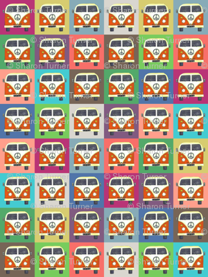 Small Rainbow Peace Campers Wallpaper Scrummy Spoonflower