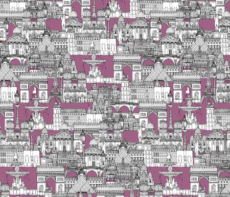 Paris toile raspberry fabric by scrummy on Spoonflower - custom fabric