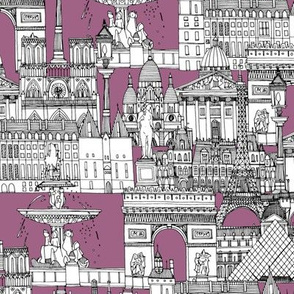 Paris toile raspberry