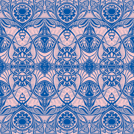 Victorian Gothic (pink/blue outline) fabric by edsel2084 on Spoonflower - custom fabric