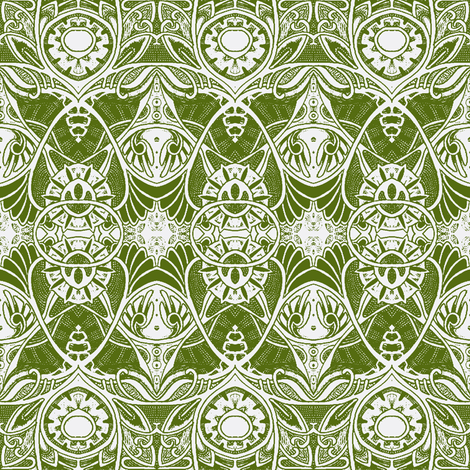 Victorian Gothic (olive/white) fabric by edsel2084 on Spoonflower - custom fabric