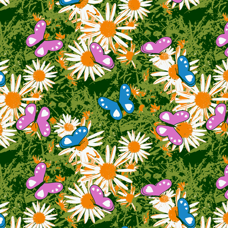 Butterflies Love Wild Daisies fabric by inscribed_here on Spoonflower - custom fabric