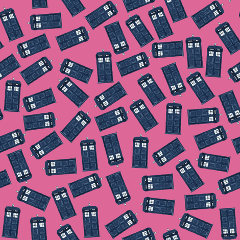 teeny tossed tardis pink fabric by scrummy on Spoonflower - custom fabric